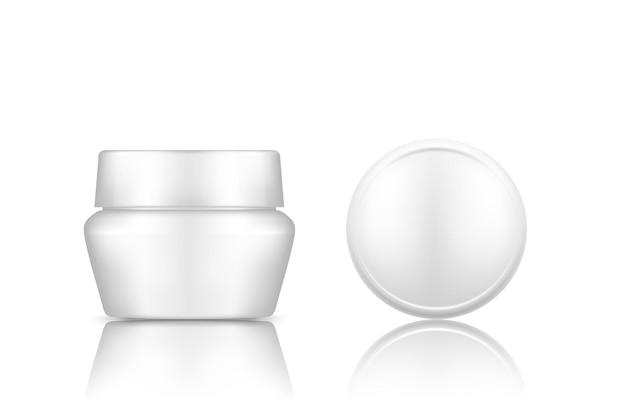 背景ローション、クリーム、パウダーから分離されたトップキャップビューモックアップと白い化粧品瓶