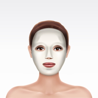 White cosmetic moisturizing facial sheet mask on face of young beautiful girl on white background.