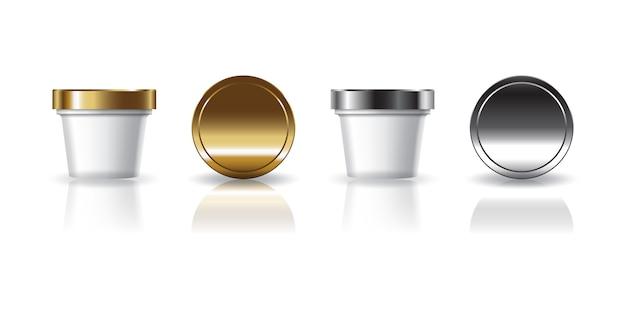 미용, 건강 또는 식품을위한 금색과 은색 뚜껑이 달린 흰색 화장품 또는 음식 둥근 컵.