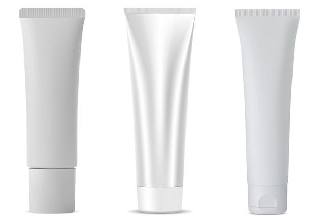 흰색 화장품 튜브, 로션 또는 치약 용 플라스틱 빈 격리 패키지, 빈 얼굴 피부 크림 또는 젤 용기 현실적인