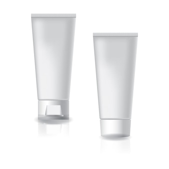 White cosmetic tube with two styles white cap and screw lid.