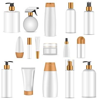 White cosmetics bottle set gold top. realistic 3d