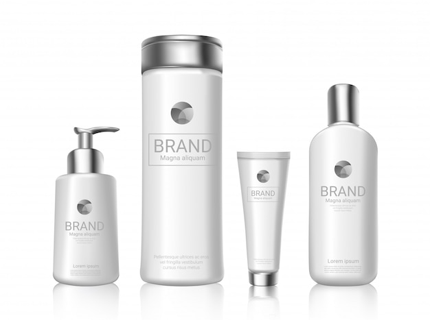 White cosmetics bottles with package design