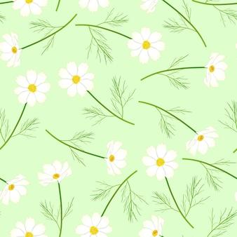 녹색 배경에 흰색 코스모스 꽃