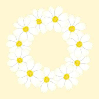 화이트 코스모스 꽃 화환.