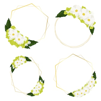 White cosmos and green hydrangea flowers bouquet with golden frame wreath