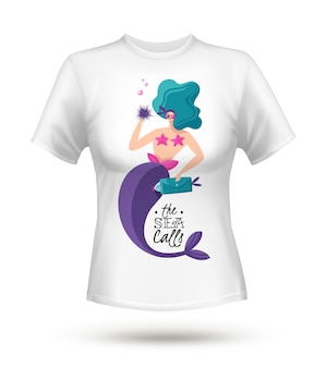 White cotton tricot t-shirt with large fabulous green haired sexy mermaid digital print design
