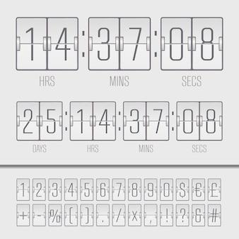 흰색 카운트 다운 타이머 및 점수 판 번호