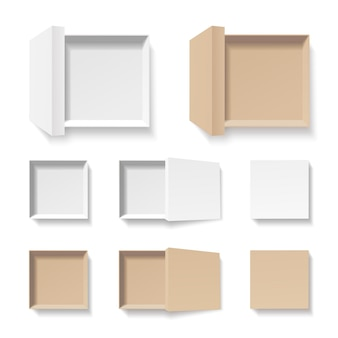 White and craft open boxes set. empty cardboard container template. 3d top view. blank space inside recycle pakage mockup. closeup realistic object.