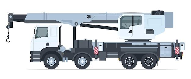White crane truck side view