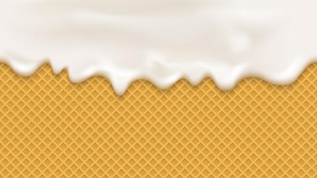 Белый крем в реалистичном стиле на вафельном фоне
