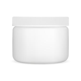 화이트 크림 항아리, 플라스틱 화장품 용기 벡터