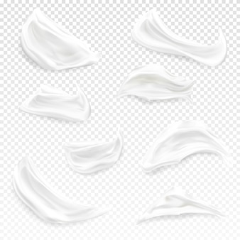 White cream strokes illustration of realistic 3d cosmetic moisturizer, gel or foam and paint