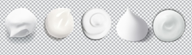 White creamy drop skincare cream foam for beauty concept isolated vector texture stock illustration.