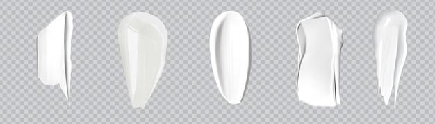 ホワイトクリーミードロップスキンケアクリーム製品。リアルな化粧品クリームスミア。