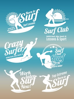 White creative summer surfing sports vector logos collection with surfer, surf board and ocean wave