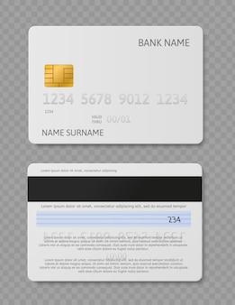 흰색 신용 카드입니다. 칩 전면 및 후면 보기 모형이 있는 현실적인 플라스틱 카드. 보안 은행 지불 벡터 은행 금융 개념
