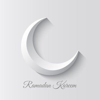 White crescent. design of greeting card for muslim holiday. ramadan kareem means generous month of ramadan.