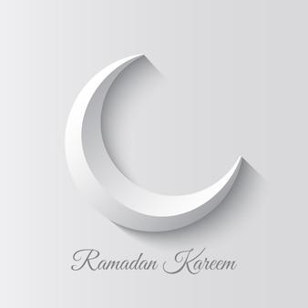 하얀 초승달. 이슬람 휴일 인사말 카드 디자인. 라마단 카림은 라마단의 관대 한 달을 의미합니다.