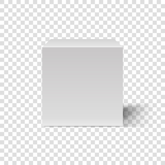 White cube. cubic box 3d template. front view. blank box on transparent background. abstract rectangle box. podium with realistic shadow