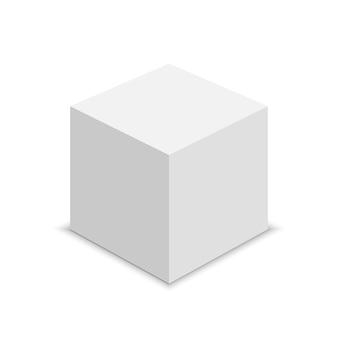 Белый куб. квадратная коробка. иллюстрации.