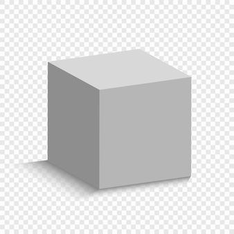 White cube with a perspective. 3d box model with a shadow