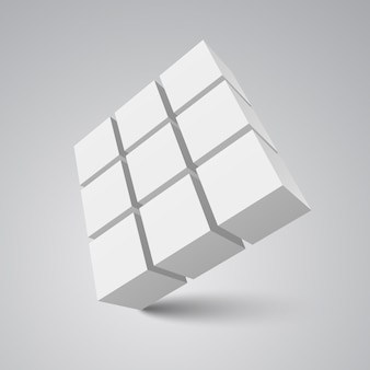 White cubes.  illustration.