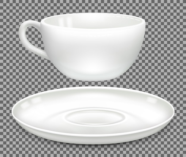 White cup for cappuccino coffee and saucer. side view, separately.