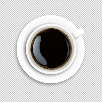 White cup coffee transparent background
