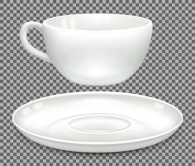 Белая чашка для капучино и блюдца. вид сбоку, отдельно.