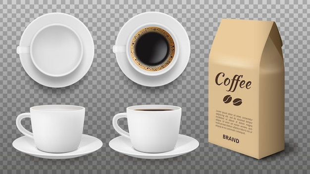 White cup mockup. realistic blank and coffee mug, arabica grains packaging. isolated drink shop elements vector template. illustration white mug ad cup with black coffee