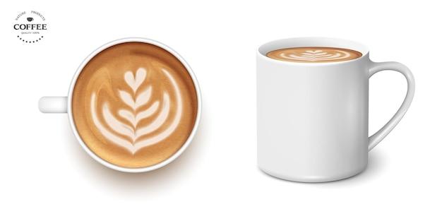 コーヒーラテチューリップの白いカップ、セット、3dリアル。上面図と側面。