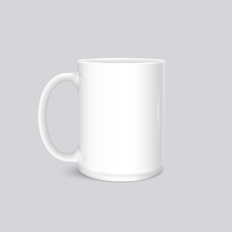 White cup photo realistic  isolated on grey