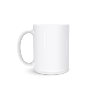 White cup photo realistic isolated on white