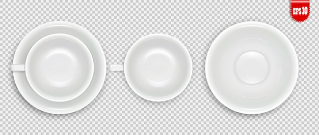 White cup top view set