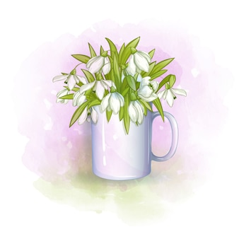 White cup with a bouquet of spring snowdrops. gentle watercolor