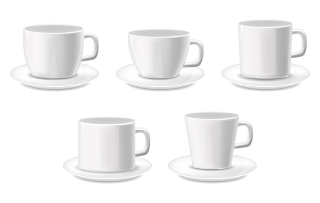 White cups isolated realistic set, package, coffee cups, white background