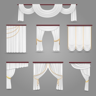 White curtains drapery for wedding room