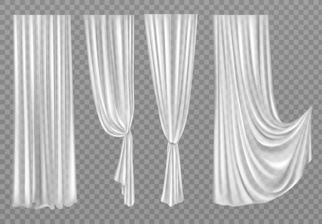 투명에 고립 된 흰색 커튼