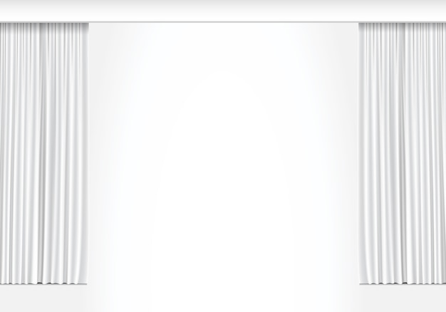 White curtains on white background