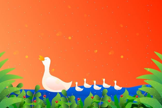 White cute duck family