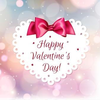 明るい赤の背景に白いかわいいバレンタイン
