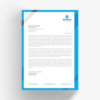 White cv letterhead template with blue and grey details