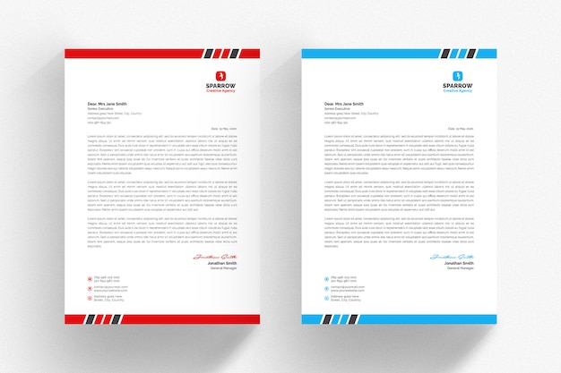 White cv letterhead template with blue and red details