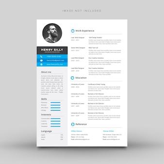 青と灰色の詳細を持つ白の履歴書テンプレート。