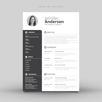 White cv template with grey details