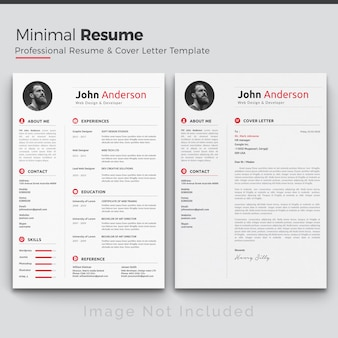 White cv template with red and grey details