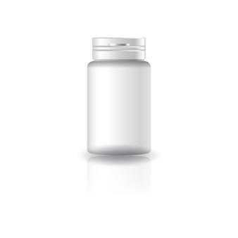 흰색 실린더 보충제, 뚜껑이있는 약병.