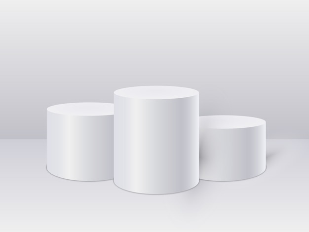 흰색 실린더 템플릿입니다. 3d베이스 스탠드 연단 또는 스튜디오 받침대 라운드 플랫폼 쇼룸.