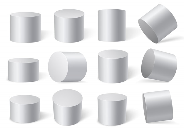 White cylinders on different angles. isolated on white background.